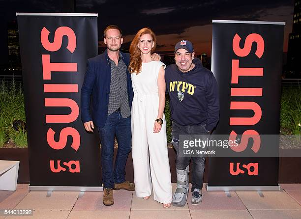 SUITS Suits/Entertainment Weekly Season 6 Premiere Screening Pictured Patrick J Adams Sarah Rafferty Rick Hoffman