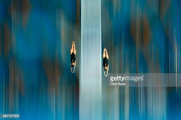Suji Kim and Eunji Ko of South Korea warmup ahead of the Women's 10m Platform Synchronised Final on day three of the 16th FINA World Championships at...