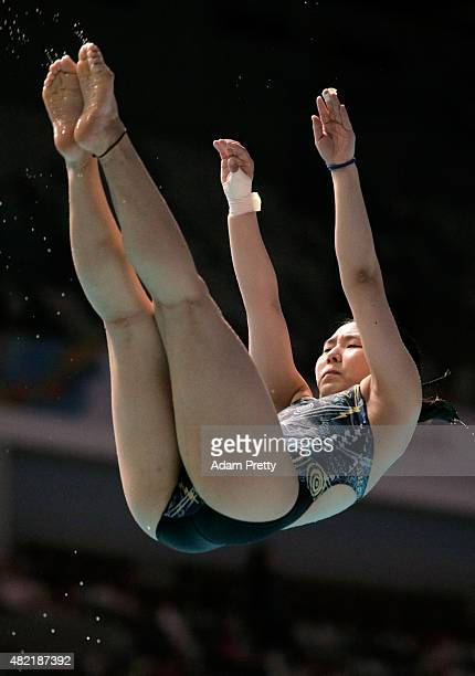 Suji Kim of South Korea competes in the Women's 1m Springboard Diving Final on day four of the 16th FINA World Championships at the Aquatics Palace...