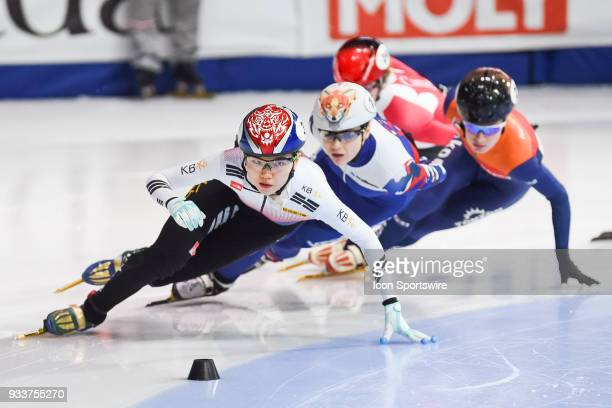 Suk Hee Shim leads this lap over Sofia Prosvirnova during the 1000m Semifinals at ISU World Short Track Speed Skating Championships on March 18 at...