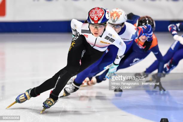 Suk Hee Shim of Korea competes in the women's 1000 meter quarterfinal during the World Short Track Speed Skating Championships at Maurice Richard...