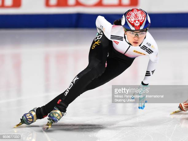Suk Hee Shim of Korea competes in the women's 1000 meter quarterfinals during the World Short Track Speed Skating Championships at Maurice Richard...