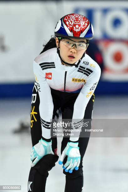 Suk Hee Shim of Korea competes in the women's 1500 meter semifinals during the World Short Track Speed Skating Championships at Maurice Richard Arena...