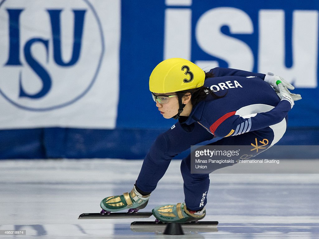 Suk Hee Shim of Korea competes on Day 2 of the ISU World Cup Short Track Speed Skating competition at Maurice-Richard Arena on November 1, 2015 in Montreal, Quebec, Canada.