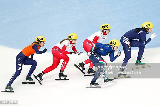 Suk Hee Shim of Korea leads Arianna Fontana of Italy during the Ladies' 1500m Semifinal on day two of the ISU World Short Track Speed Skating...