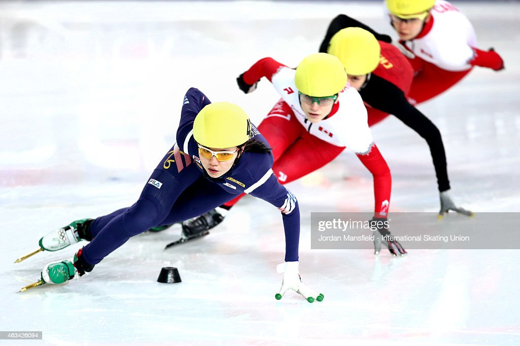 Suk Hee Shim of Korea (L) leads the pack during the Women's 1000m semi-finals on day one of the ISU World Cup Short Track Speed Skating on February 14, 2015 in Erzurum, Turkey.