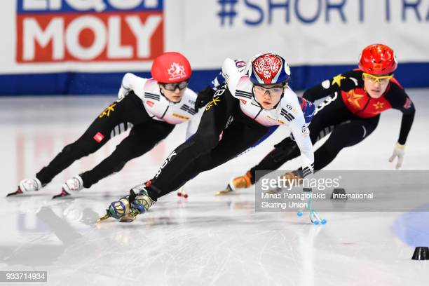 Suk Hee Shim of Korea takes the lead in the women's 1000 meter Final during the World Short Track Speed Skating Championships at Maurice Richard...