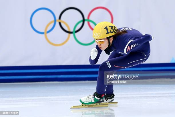 Suk Hee Shim of South Korea competes in the Short Track Ladies' 3000m Relay Semifinal on day 3 of the Sochi 2014 Winter Olympics at Iceberg Skating...