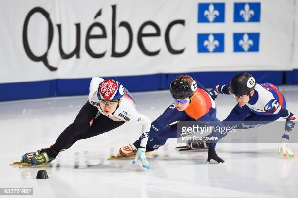 Suk Hee Shim takes the lead over Yara Van Kerkhof and Ekaterina Efremenkova during the 1000m Quarterfinals at ISU World Short Track Speed Skating...