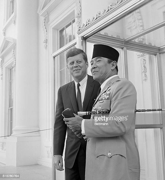 Sukarno Arrives For Working Lunch Washington Indonesian President Sukarno is greeted by President Kennedy on the North Portico of the White House as...