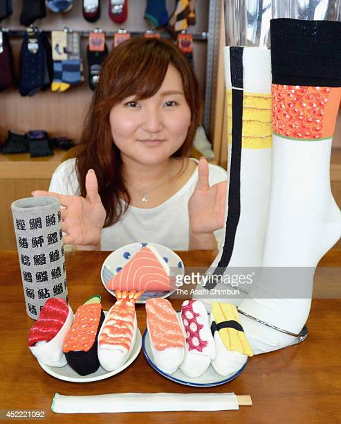 Sukeno Co's Sushi Socks resemble sushi when they are rolled up on July 7 2014 in Takaoka Toyama Japan They are priced at 500 Japanese Yen a pair tax...