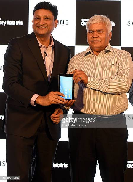 Sukesh Jain Vice President Samsung India Electronics Ram Sewak Sharma Chairperson of the Telecom Regulatory Authority of India announce the launch of...