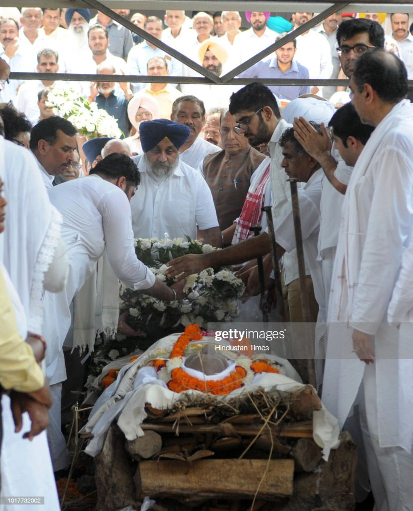 Sukhbir Badal former deputy CM Punjab pays last respects to Balram Das Tandon Governor Chhattisgarh at Cremation ground sector 25 on August 16 2018...