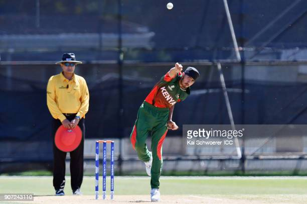 Sukhdeep Singh of Kenya bowls during the ICC U19 Cricket World Cup match between the West Indies and Kenya at Lincoln Oval on January 20 2018 in...