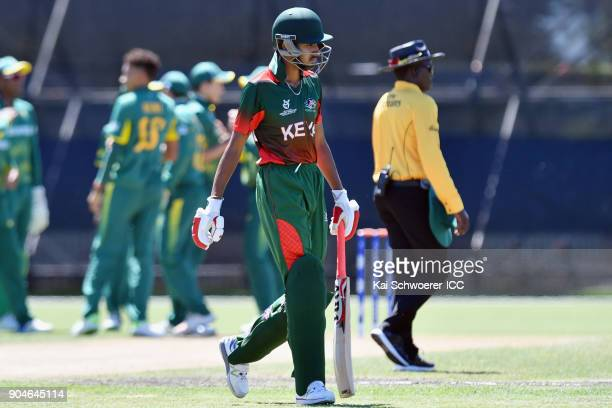 Sukhdeep Singh of Kenya looks dejected after being dismissed by Thando Ntini of South Africa during the ICC U19 Cricket World Cup match between South...