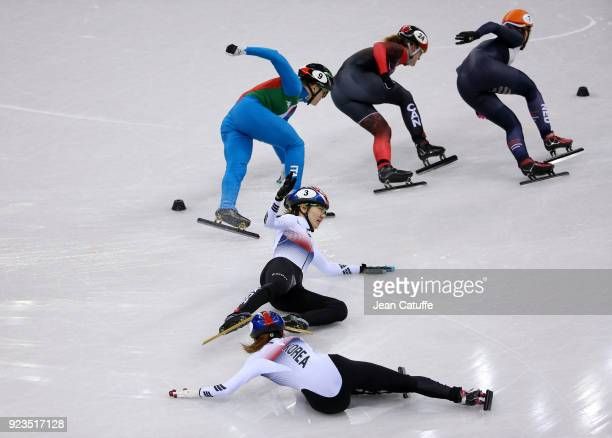 Sukhee Shim and Minjeong Choi of South Korea crash during the Short Track Speed Skating Women's 1000m Final A on day thirteen of the PyeongChang 2018...