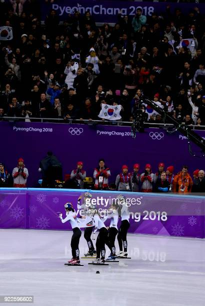 Sukhee Shim Minjeong Choi Yejin Kim Alang Kim and Yubin Lee of South Korea celebrate their victory in Short Track Speed Skating Ladies 3000m Relay...