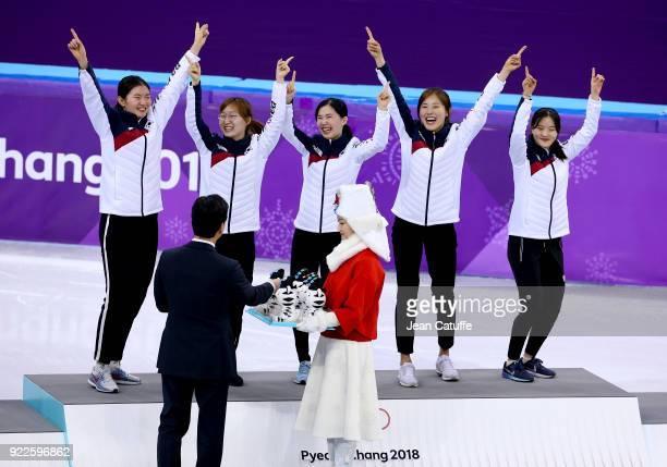 Sukhee Shim Minjeong Choi Yejin Kim Alang Kim and Yubin Lee of South Korea celebrate their Gold medal in Short Track Speed Skating Ladies 3000m Relay...