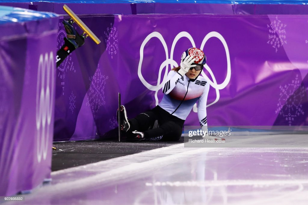 Sukhee Shim of Korea crashes during the Short Track Speed Skating - Ladies' 1,000m Final A on day thirteen of the PyeongChang 2018 Winter Olympic Games at Gangneung Ice Arena on February 22, 2018 in Gangneung, South Korea.