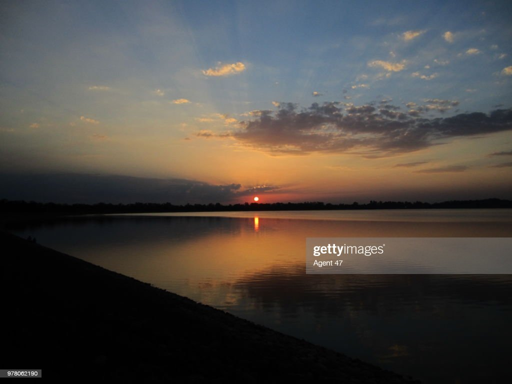 Sukhna Lake at sunset, Chandigarh, India