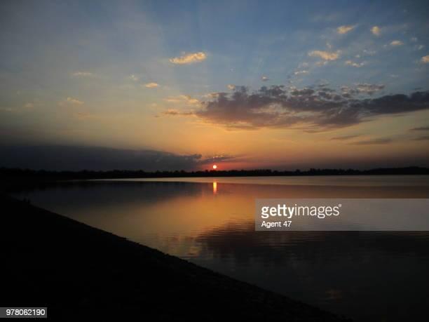 Sukhna Lake at sunset, Chandigarh, India
