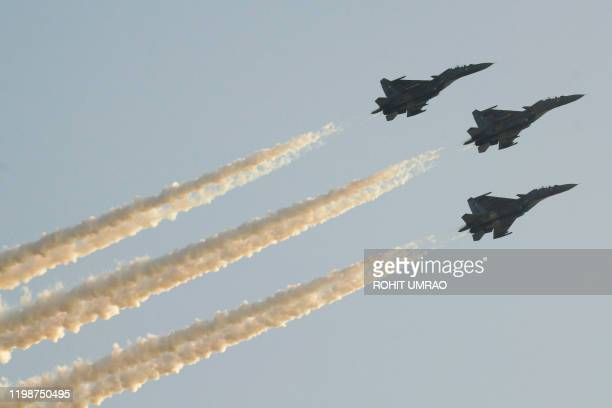 Sukhoi 30 MKI Trishul fly in formation during the inaugural ceremony of the 11th Edition of the biennial defence exhibition DefExpo 2020 in Lucknow...