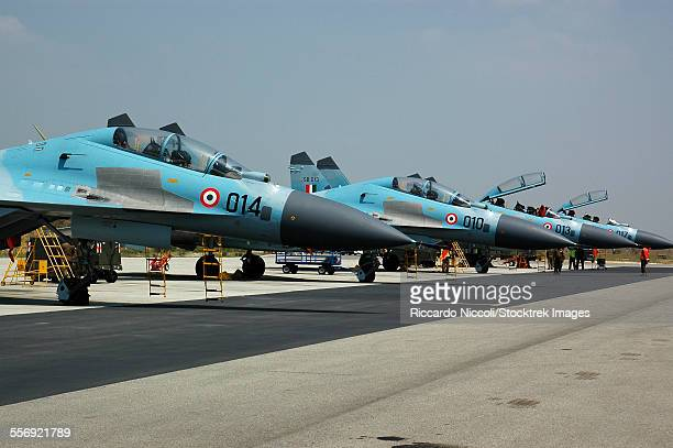 Sukhoi Su-30 aircraft from the Indian Air Force at Istres Air Base, France, during exercise Garuda II.