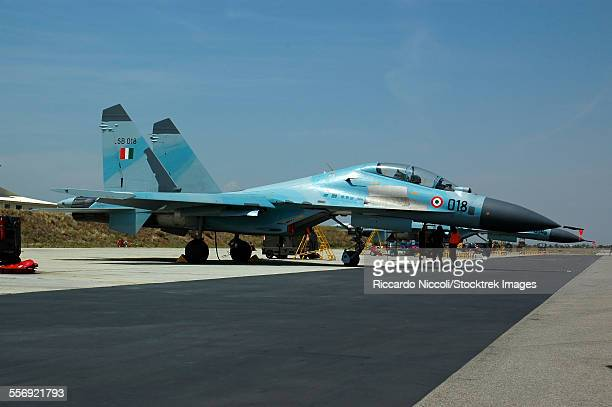 sukhoi su-30 aircraft from the indian air force at istres air base, france, during exercise garuda ii. - indian air force stock pictures, royalty-free photos & images