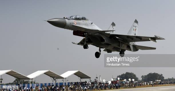 Sukhoi Su30MKI makes touchdown on the LucknowAgra Expressway near Bangarmau in Unnao district on October 24 2017 around 65 km from Lucknow India As...