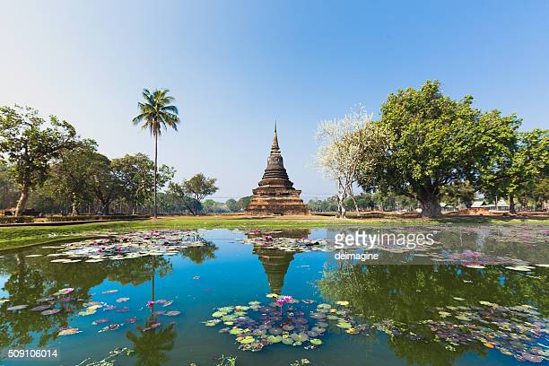 sukhothai temple lake panorama - chiang mai province stock photos and pictures