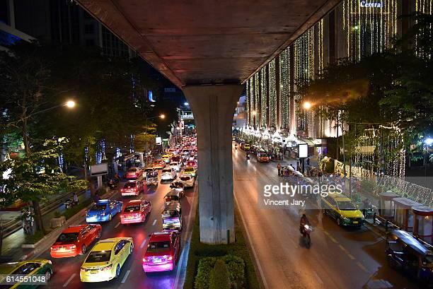 sukhumvit urban landscape by night Bangkok Thailand, Asia