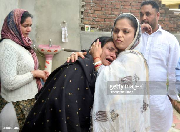 Sukhwinder Kaur mother of Manjinder Singh one of the workers killed in Iraqs Mosul showing her sorrow when Punjab State Womens Commission Chairperson...