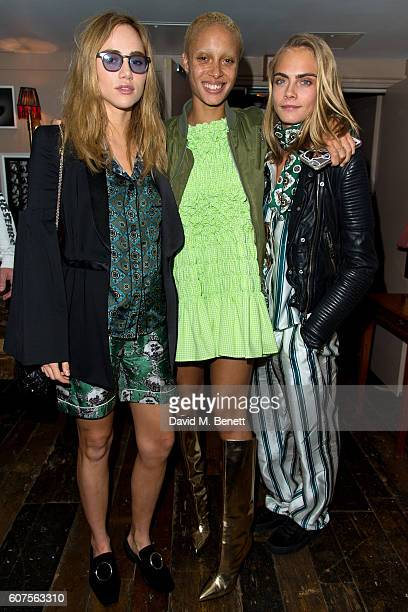 Suki Waterhouse, Adwoa Aboah and Cara Delevingne attends the launch of i-D's 'The Female Gaze' issue hosted by Holly Schkleton and Adwoa Aboah during...