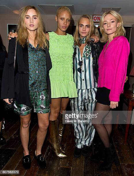 Suki Waterhouse, Adwoa Aboah, Cara Delevingne and Clara Paget attends the launch of i-D's 'The Female Gaze' issue hosted by Holly Schkleton and Adwoa...