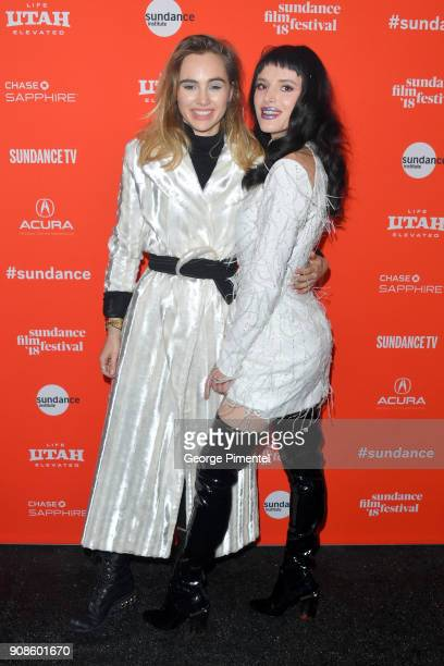 Suki Waterhouse and Bella Thorne attend the 'Assassination Nation' Premiere during the 2018 Sundance Film Festival at Park City Library on January 21...