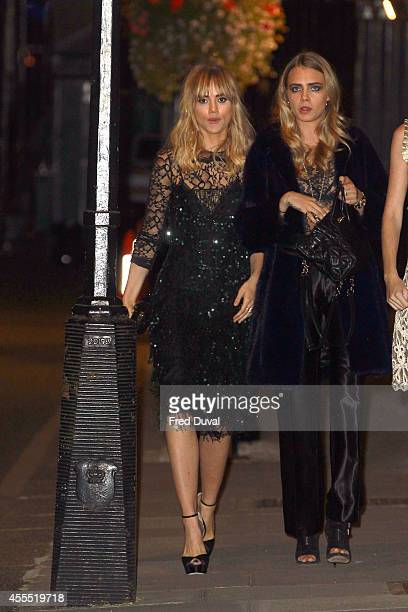 Suki Waterhouse and Cara Delevingne attends the Downing Street reception hosted by Samantha Cameron during London Fashion Week Spring Summer 2015 on...