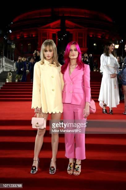 Suki Waterhouse and Georgia May Jagger arrive at The Fashion Awards 2018 In Partnership With Swarovski at Royal Albert Hall on December 10 2018 in...