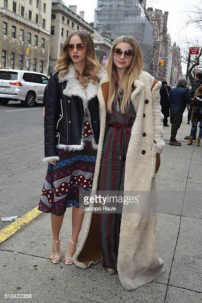 Suki Waterhouse and Immy Waterhouse arrive at Tommy Hilfiger fashion show during Fall 2016 New York Fashion Week on February 15 2016 in New York City
