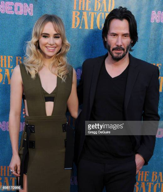 Suki Waterhouse and Keanu Reeves arrive at the premiere of Neon's The Bad Batch at Resident on June 19 2017 in Los Angeles California