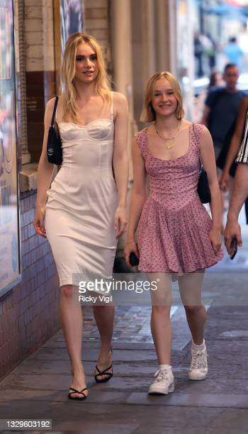 Suki Waterhouse and Maddie Waterhouse seen attending J. Sheekey 125th anniversary party on July 19, 2021 in London, England.