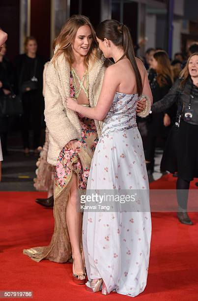 Suki Waterhouse and Millie Brady attend the European premiere of 'Pride And Prejudice And Zombies' at the Vue West End on February 1 2016 in London...