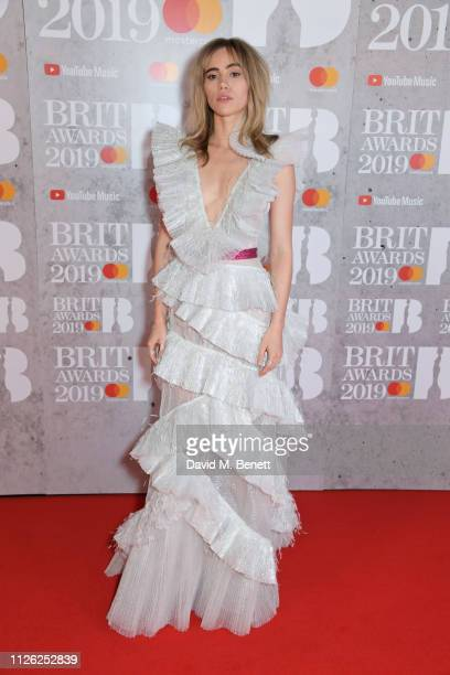 Suki Waterhouse arrives at The BRIT Awards 2019 held at The O2 Arena on February 20 2019 in London England