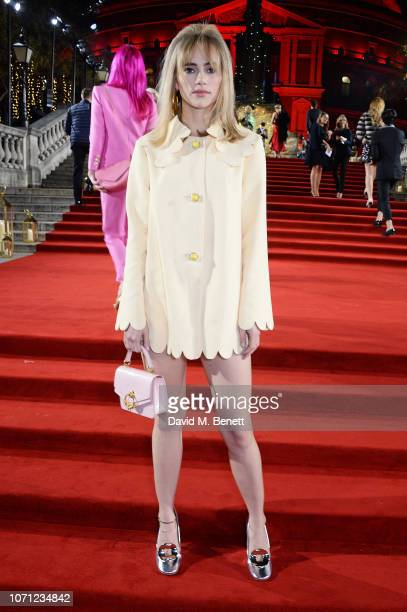 Suki Waterhouse arrives at The Fashion Awards 2018 in partnership with Swarovski at the Royal Albert Hall on December 10 2018 in London England