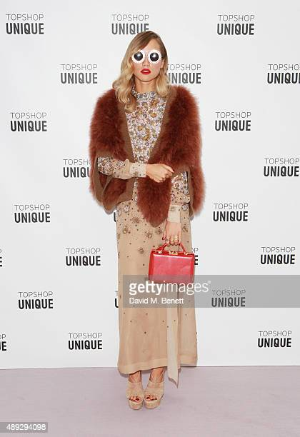 Suki Waterhouse arrives at the Topshop Unique show during London Fashion Week SS16 at The Queen Elizabeth II Conference Centre on September 20 2015...