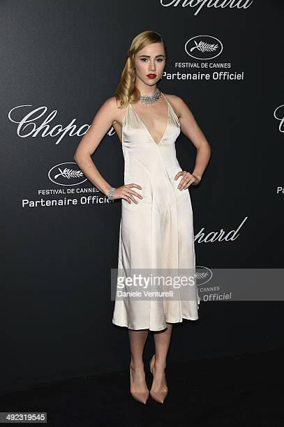 Suki Waterhouse arrives to the Chopard Backstage Dinner Afterparty at the CannesMandelieu Aerodrome during the 67th Annual Cannes Film Festival on...