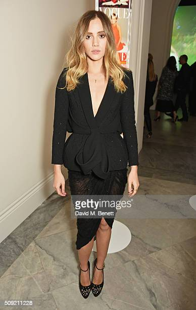 Suki Waterhouse attends a private view of Vogue 100 A Century of Style hosted by Alexandra Shulman and Leon Max at the National Portrait Gallery on...