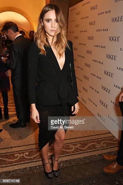 Suki Waterhouse attends a private view of 'Vogue 100 A Century of Style' hosted by Alexandra Shulman and Leon Max at the National Portrait Gallery on...