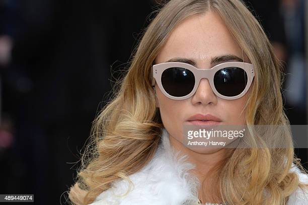 Suki Waterhouse attends the Burberry Prorsum show during London Fashion Week Spring/Summer 2016/17 on September 21 2015 in London England