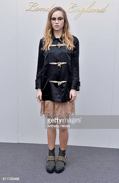 Suki Waterhouse attends the Burberry show during London Fashion Week Autumn/Winter 2016/17 at Kensington Gardens on February 22 2016 in London England
