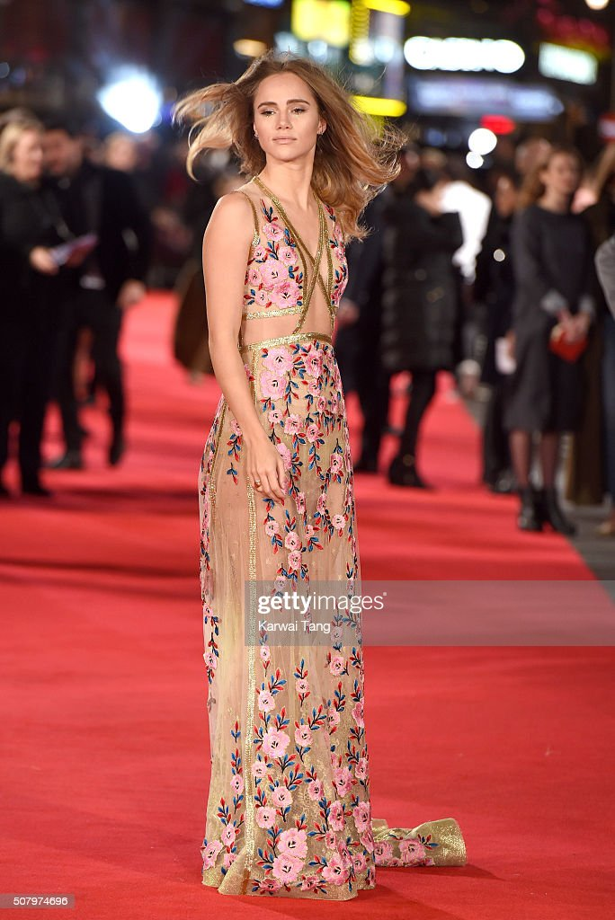 Suki Waterhouse attends the European premiere of 'Pride And Prejudice And Zombies' at the Vue West End on February 1, 2016 in London, England.